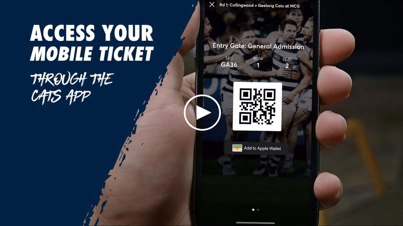Access your mobile ticket through the Cats App