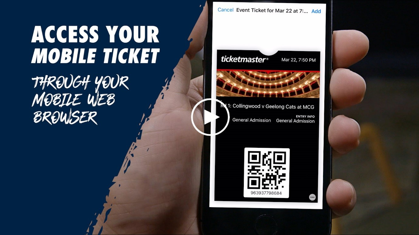 Access your mobile ticket through your mobile web browser